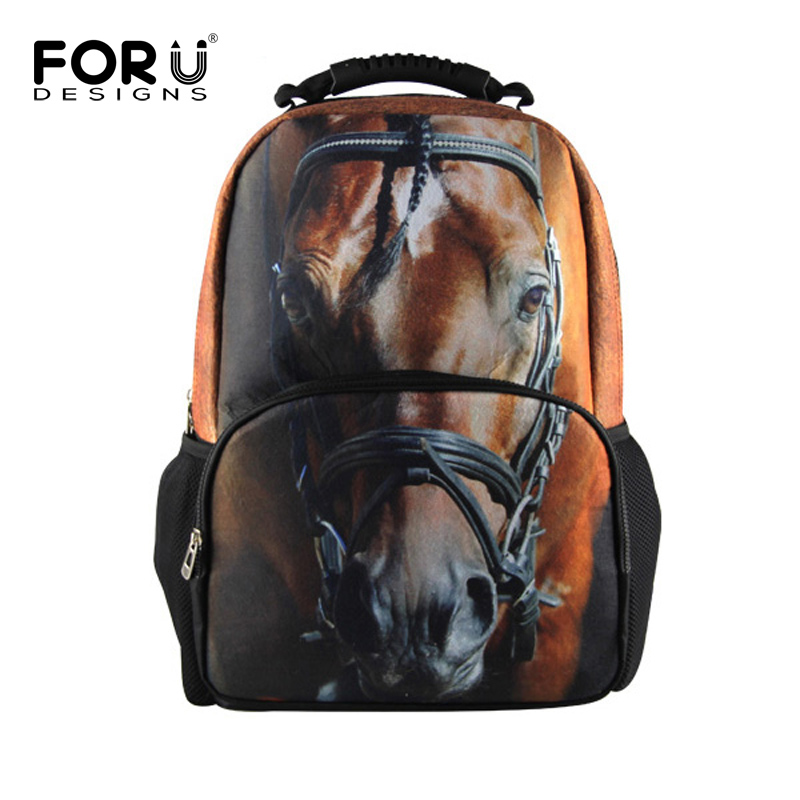 Fashion Animal 3D Horse Man Backpack Casual Outdoor School Bags ...
