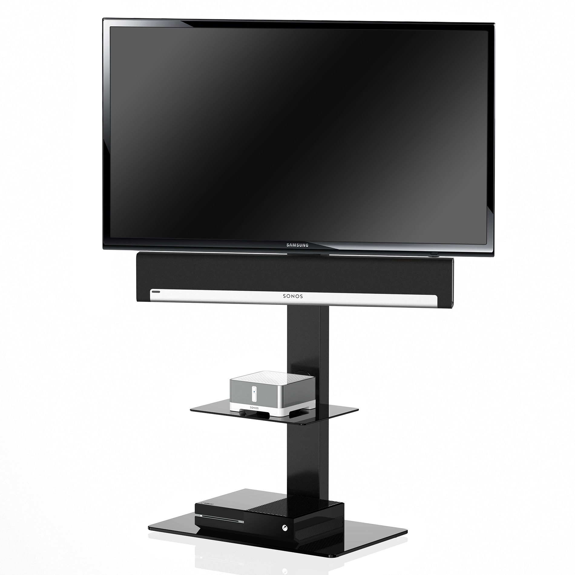 Flat Screen Tv Stands With Swivel Mount Component Shelves