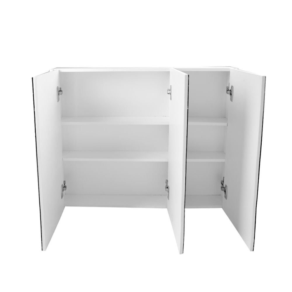 White gloss 3 door mirror bathroom cabinet wall mounted for Bathroom cabinet 900mm high