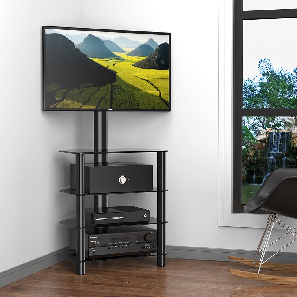 Corner Audio Tower Rack Tv Stand With Swivel Mount For 32 50 Flat